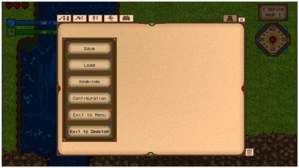 Game de RPG - Interface configuracoes